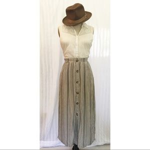 Vertical Stripe Long Skirt with Buttons